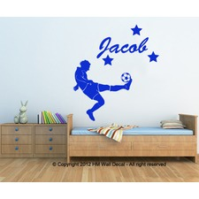 Personalised Name with Football Player Wall Sticker