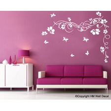 Corner Flower with Vine DIY Removable Wall Decal