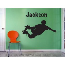 Personalised name with 40cm Skateboarder Wall Decal