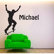 Personalised Name with 76cm Skateboarder Wall Decal