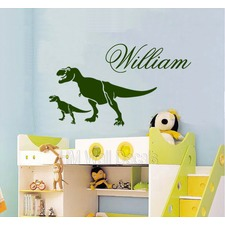 Personalised Name with T Rex Dinosaurs Removable Wall Decal