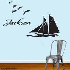 Personalised Name and 42cm Yacht Sailing Wall Sticker