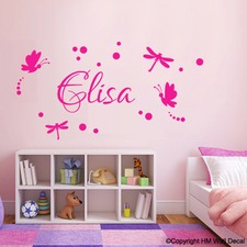 Personalised Dragonflies and Butterflies Removable Wall Sticker