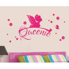 Personalised Fairy, Butterfly and Florals Removable Wall Sticker