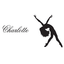 Personalised Name and Gymnastic Girl Wall Sticker