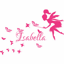 Personalised Name with Fairy and Butterflies Wall Sticker