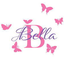 Personalised 6 Butterflies Removable Wall Sticker