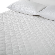 White Cotton-Blend Mattress Protector