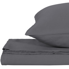 Dark Grey Solid Bamboo Quilt Cover Set