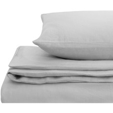 Light Grey European Flax Linen Quilt Cover Set