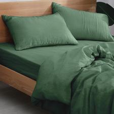 Olive European Flax Linen Quilt Cover Set