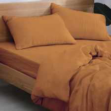 Rust European Flax Linen Quilt Cover Set