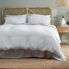 Natural Classic Pinstripe Linen Quilt Cover Set