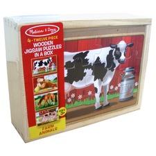 MELISSA & DOUG Farm Animals Wooden Jigsaw Puzzles in a Box