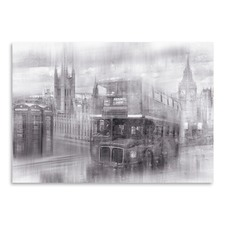 City Art London Westminster Monochrome Collage Print