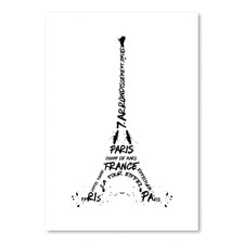 Black & White Digital Art Eiffel Tower Print