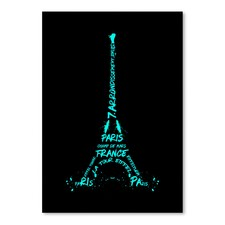 Cyan & Black Digital Art Eiffel Tower Print