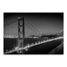 Evening Cityscape Of Golden Gate Bridge Monochrome Print