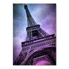 Purple Modern Art Paris Eiffel Tower Print