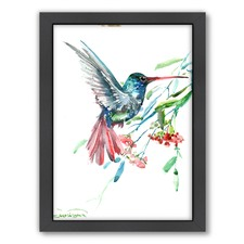 Hummingbird & Flowers Print