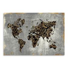 Gold World Map Printed Wall Art