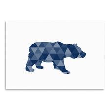 Geometric Bear Printed Wall Art
