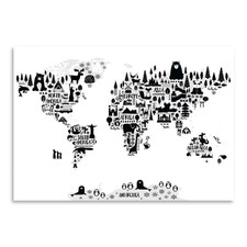 Monochrome Animal World Map Printed Wall Art