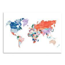 Watercolour World Map Printed Wall Art