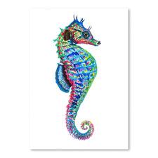 Colourful Seahorse Facing Right Printed Wall Art