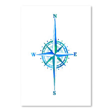 Compass Rose Watercolour Printed Wall Art