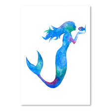 Mermaid Kissing Fish Printed Wall Art