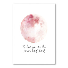 Pink Moon & Back Printed Wall Art