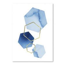 Blue & Gold Printed Wall Art