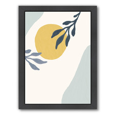 Blue & Yellow Leaves Printed Wall Art
