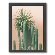 Succulents On Orange Printed Wall Art
