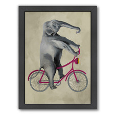 Elephant On Bicycle Printed Wall Art