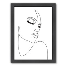 One Line Woman Face Printed Wall Art