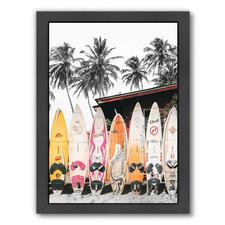 Hawaii Surfboard Printed Wall Art