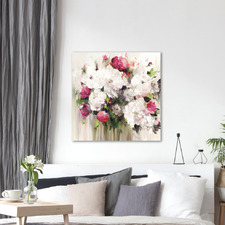 Bouquet of Pink Flowers Printed Wall Art