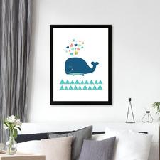Scandi Whale Printed Wall Art