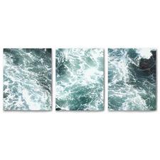Coastal Storm Canvas Wall Art Triptych by Hope Bainbridge