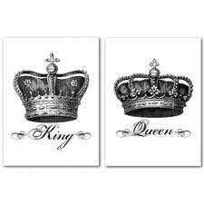 Crown King Black Canvas Wall Art Diptych by Amy Brinkman