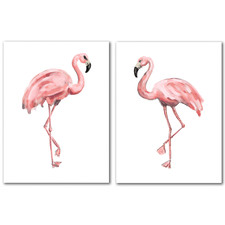 Pink Painted Flamingo Canvas Wall Art Diptych by Jetty Printables