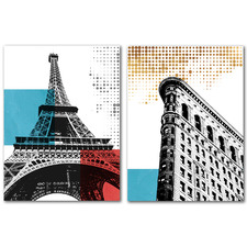 Paris Canvas Wall Art Diptych by Ikonolexi