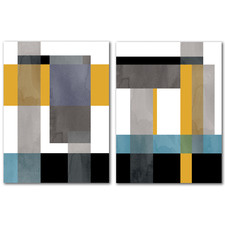 Geometric Composition Blue Yellow Canvas Wall Art Diptych by Pop Monica
