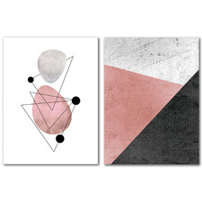 Modern Mid Century Abstract Canvas Wall Art Diptych by Pop Monica
