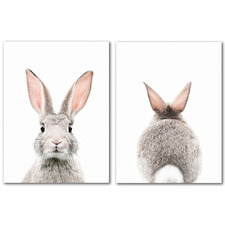 Bunny Face Canvas Wall Art Diptych by Sisi & Seb