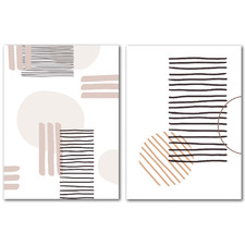 Abstract Lines & Circles Canvas Wall Art Diptych by Wall & Wonder