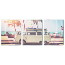 VW Bus on the Coast Canvas Wall Art Triptych by Sisi & Seb