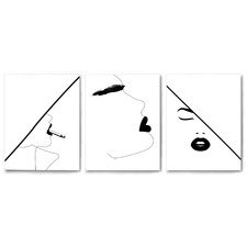 Bold Faces Canvas Wall Art Triptych by Explicit Design